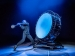 Blue Man Beating Giant Drum Vegas