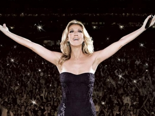 Celine Dion Performing with Audience in Background