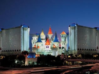 Excalibur Hotel Exterior at Dusk