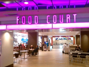 Food Court at Flamingo Neon Sign Entrance