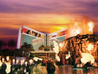 Mirage Hotel Exterior with Volcano
