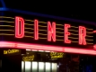 Diner sign in neon at night