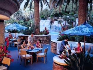Paradise Cafe Seating by pool & waterfall