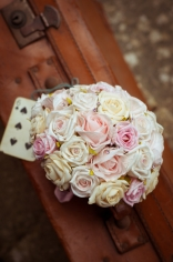 Wedding Bouquet flowers with playing card