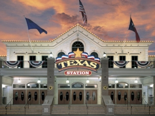 Exterior of Texas Station at Sunset